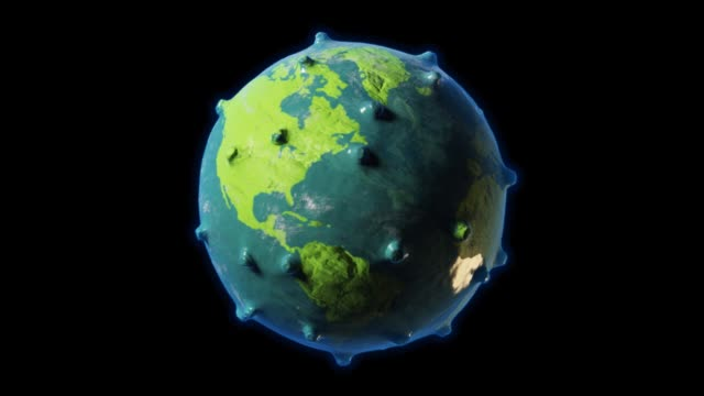 Planet earth turns into a coronavirus. 3D rendering. Planet earth turns into a coronavirus. 3D rendering. covid icon stock videos & royalty-free footage