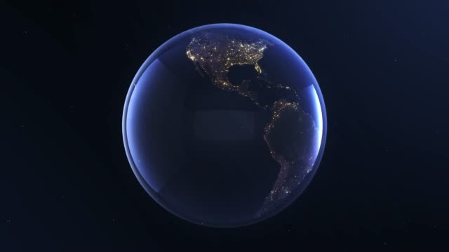Planet Earth, view from space. 3d terrestrial globe. Rotating animation through the cosmos, stars and stratosphere. 4k resolution.