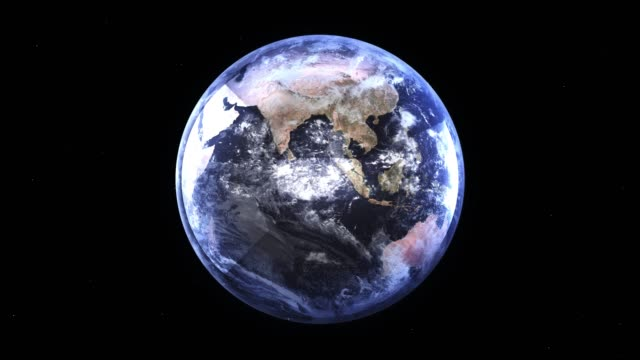 Planet Earth, view from space. 3d terrestrial globe. Rotating animation through the cosmos, stars and stratosphere 4k.