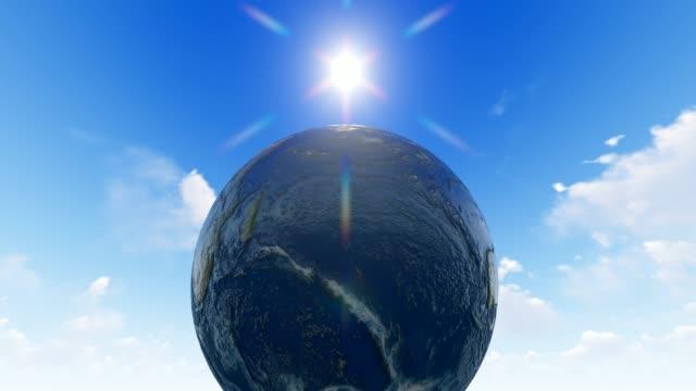 планета земля с солнцем - линия экватора стоковые видео и кадры b-roll