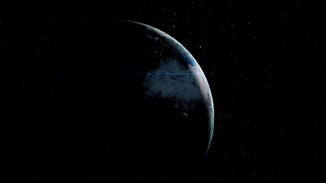 Planet earth with sunrise in space video