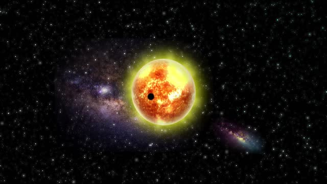Planet in Front of The Sun in Outer Space. Planet. Abstract Backgrounds. Stock Video