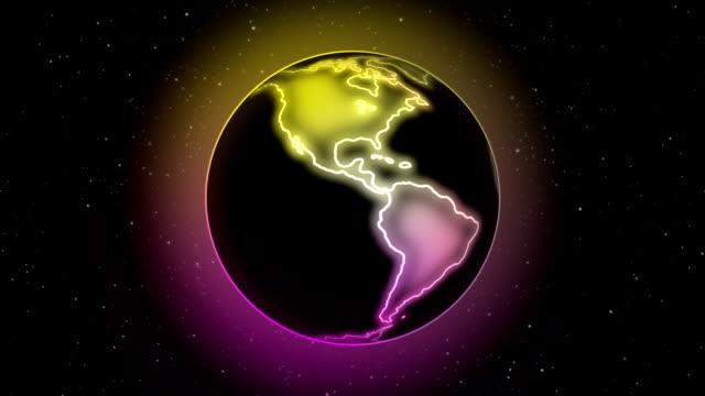 Planet in neon spinning seamless loop video