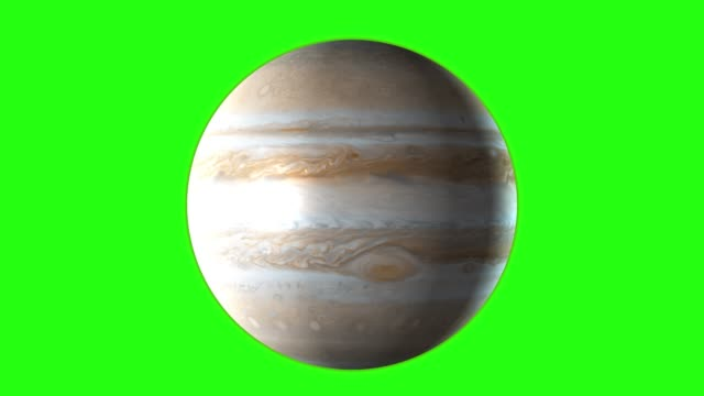 planet jupiter rotating in its own orbit in the outer space. green screen - jowisz filmów i materiałów b-roll