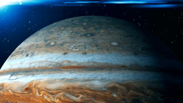 Planet Jupiter rotation. 3d rendering digital background video