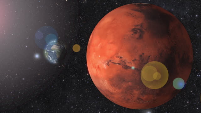 Planet Mars and earth rotating in the outer space. 3D Rendering