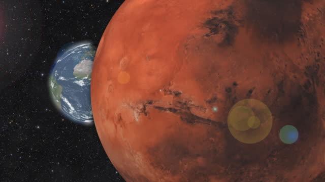 planet mars och jorden roterar i yttre rymden. 3d-rendering - earth from space bildbanksvideor och videomaterial från bakom kulisserna