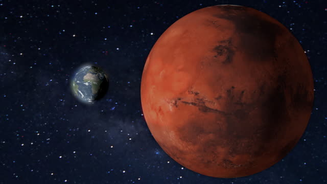 Planet Mars and earth rotating in the outer space.