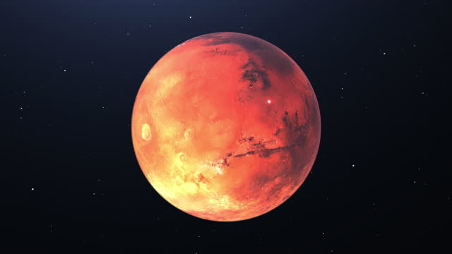 4K Planet Mars High quality - Planet Mars orbiting with stars in background High quality 4K - Mars on black background - Mars planet rotating on its fixed axis - Mars red planet
