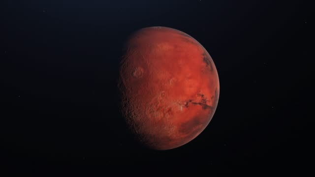 Planet Mars rotating in its own orbit in the outer space. 3D Rendering
