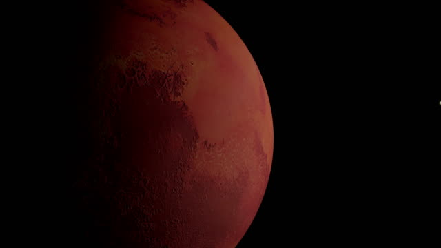 Planet Mars rotating in space. video