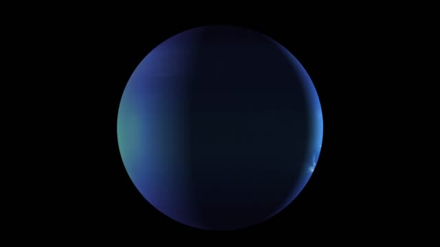 Planet Neptune rotating in its own orbit in the outer space. 3D Rendering