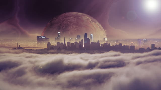 Planet rising above city skyline in a futuristic world