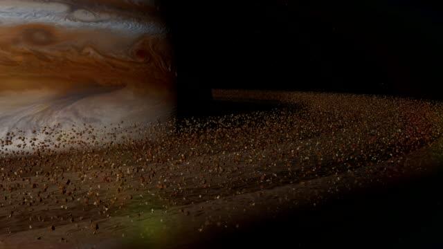 Planet Saturn orbiting, ring, closeup, looped, solar system, 3D animation, alpha video
