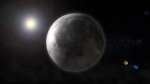 Planet the moon revolves in space video