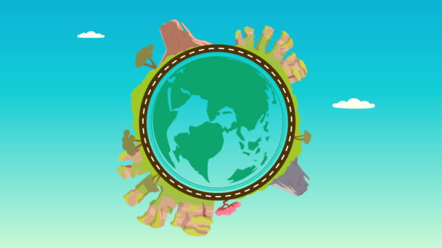 planet with nature landscape on around video