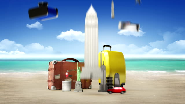 Planing to travel city,summer vacation. symbol of travel, tour, vacation video