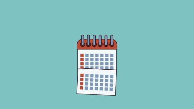 Planner isolated symbol HD animation Calendar planner over blue background high definition animation colorful scenes personal organizer stock videos & royalty-free footage