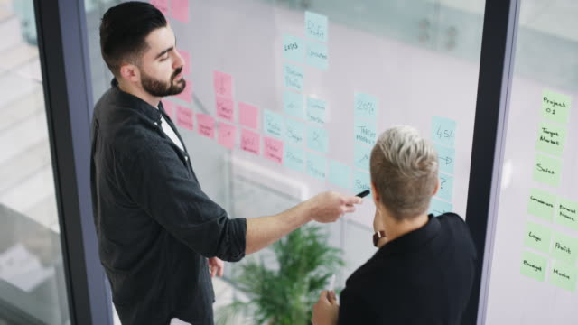 Planning ahead is how you stay ahead in business 4k video footage of two young businesspeople writing notes and brainstorming ideas on a glass wall inside their office coworking stock videos & royalty-free footage