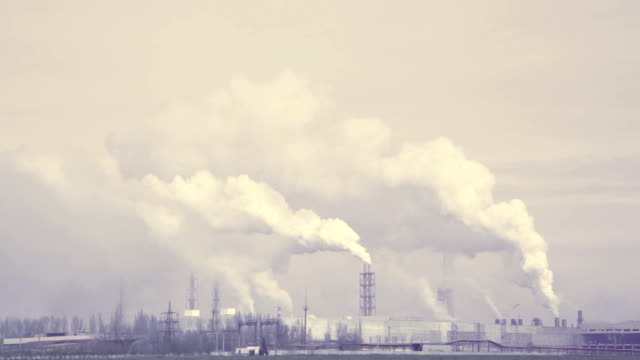plant tube smoke dirty emissions air pollution envirenment, factory video