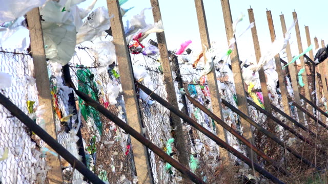 Plastic bags blown by wind from a landfill video