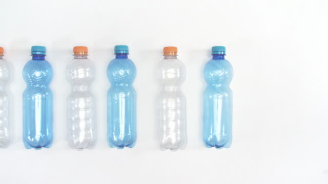 Plastic bottles in a row for recycling