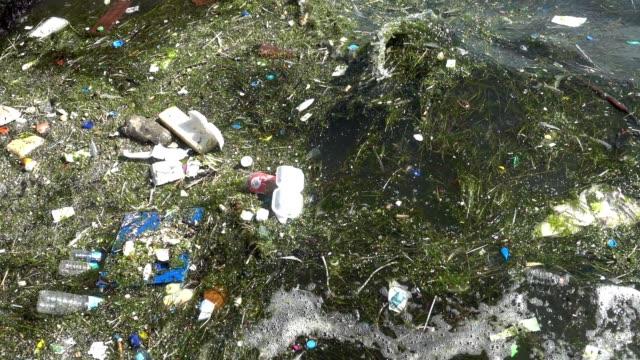 海面に浮かぶプラスチックゴミ - 水に浮かぶ点の映像素材/bロール
