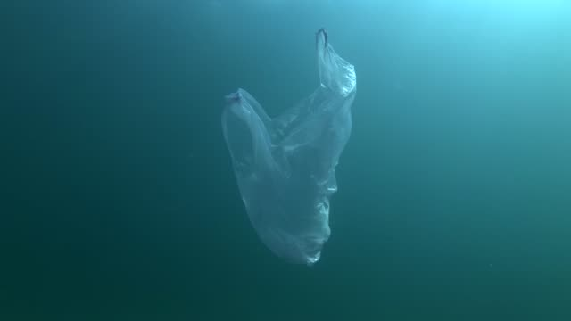 Plastic pollution, Blue plastic bag swims underwater in sunray. Plastic debris underwater. Plastic garbage environmental pollution problem