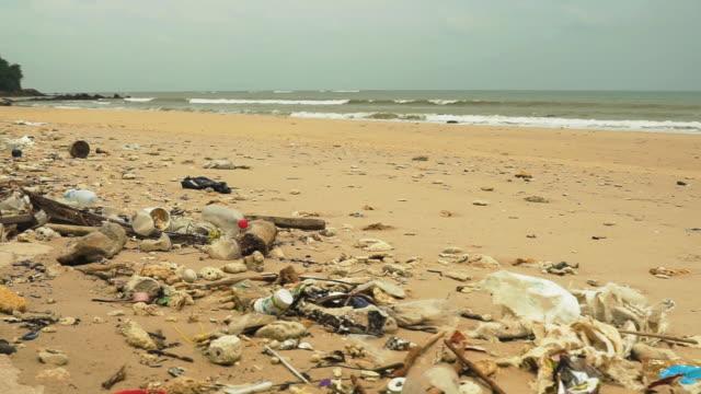 浜辺に打ち上げられたプラスチック汚染ゴミ捨て場 - 残骸点の映像素材/bロール