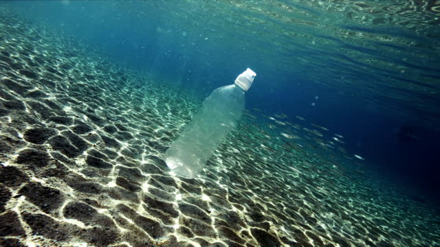 Plastic pollution in sea Plastic pollution in sea bottle stock videos & royalty-free footage