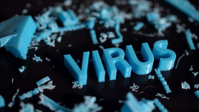 黒いガラスに回転するプラスチックのスクラップを有するプラスチックテキストウイルス、コロナウイルスの概念 ビデオ