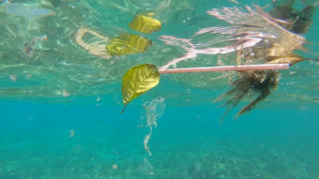 Plastic trash floating in the ocean water Plastic trash floating in the ocean water. straw stock videos & royalty-free footage