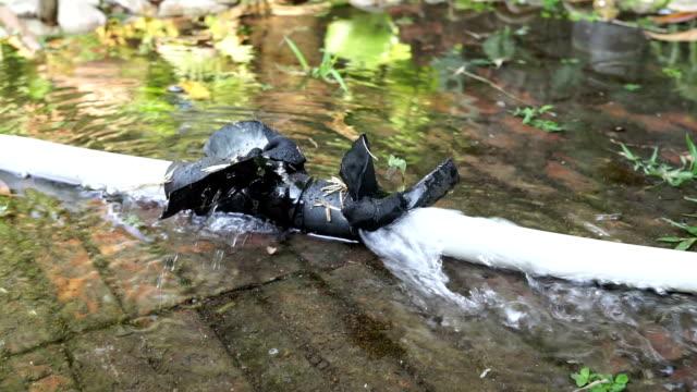 Plastic water pipe leak. video