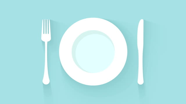 plate, knife and fork place setting on oblue background - icona posate video stock e b–roll