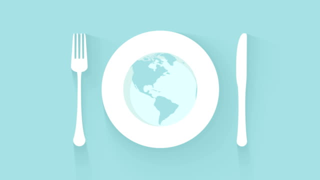 plate, knife and fork place setting world kitchen background - icona posate video stock e b–roll