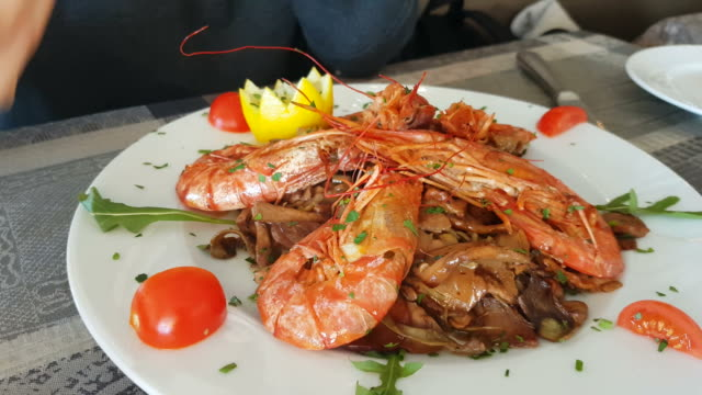 Plate of Prawns in the Restaurant video