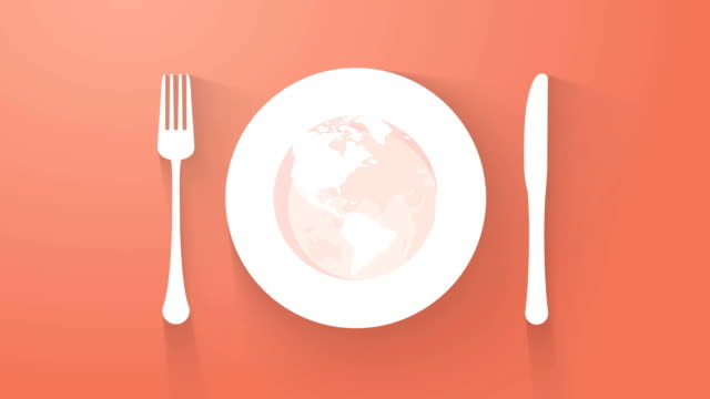 plate with cutlery and long shadows global kitchen concept motion background - icon set healthy video stock e b–roll
