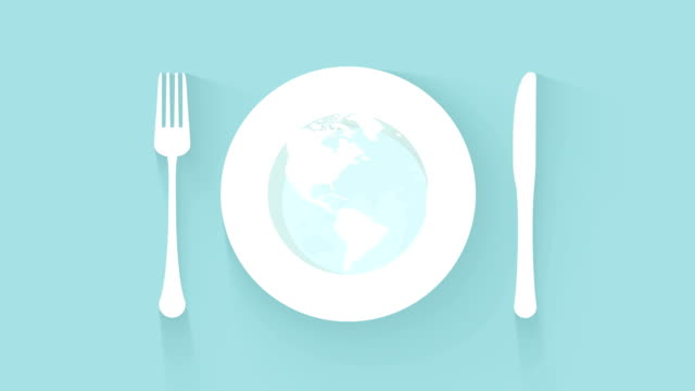 plate with cutlery global kitchen concept - icona posate video stock e b–roll