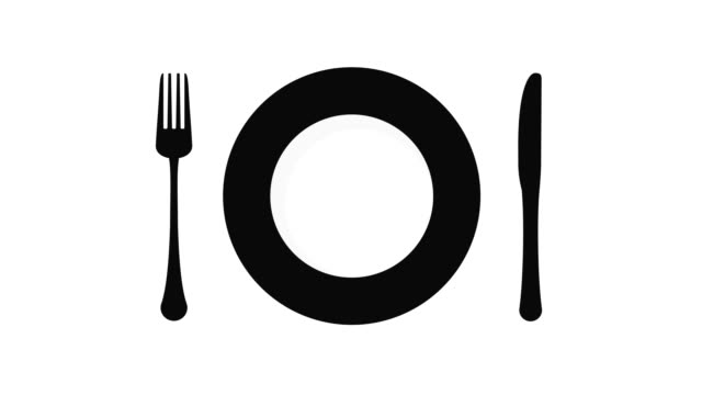 plate with cutlery - icona posate video stock e b–roll