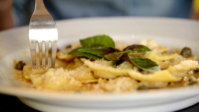 Plate with pasta Plate with pasta ravioli stock videos & royalty-free footage