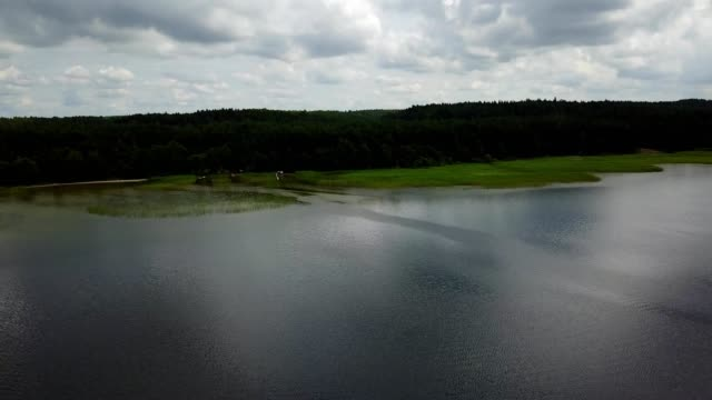 Plateliai lake Lithuania Aerial drone top view 4K UHD video video