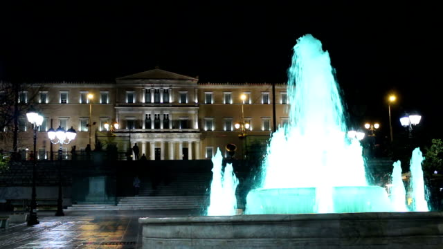 Platia Syntagma fountain night video