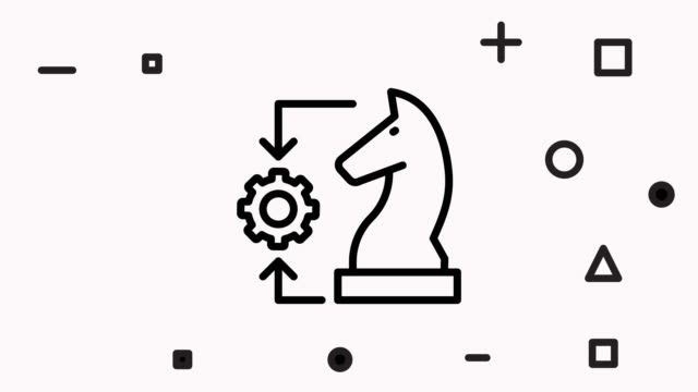 Play Chess Online Line Icon Animation with Alpha