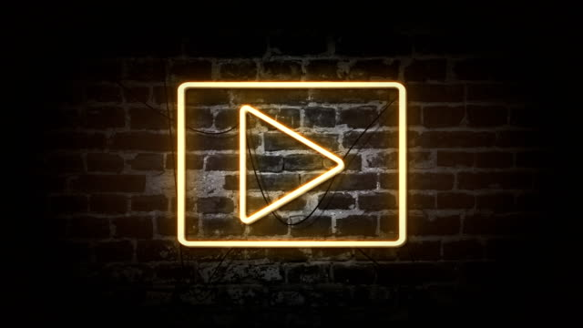 Play icon neon sign Play icon neon sign neon colored stock videos & royalty-free footage