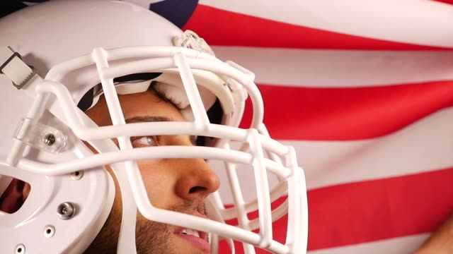 Player of American Football with USA flag video