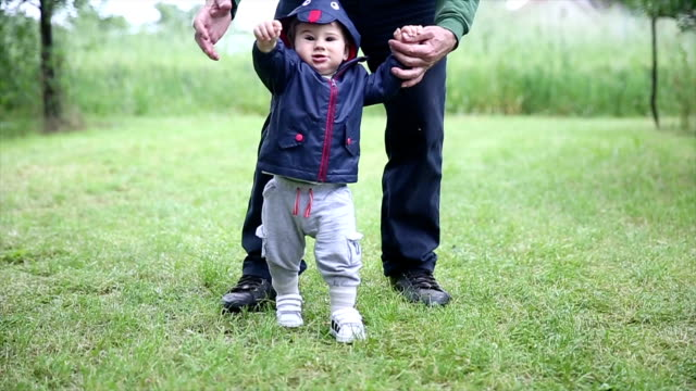 Playful child Grandfather  and grandson in nature stepping stock videos & royalty-free footage