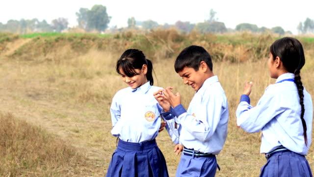 Playful children outdoor in nature video