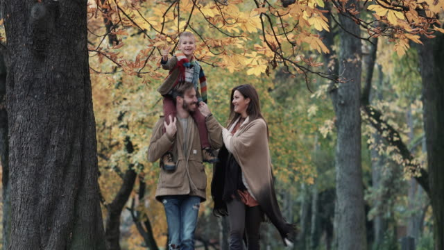 Playful family running in the park and having fun in autumn. video