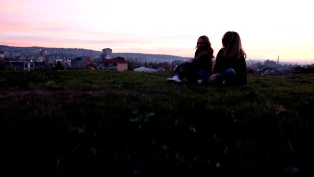 遊び心のある友人の夕暮れ時の良い時間を過ごして ビデオ