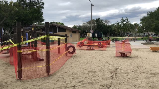 Playground closed during coronavirus quarantine in Los Angeles video